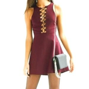 URBAN OUTFITTERS maroon dress w/ lace front